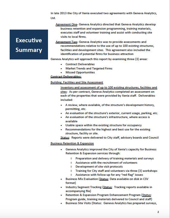 training status report